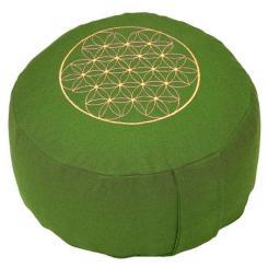 Meditationskissen RONDO BASIC - Blume des Lebens grün | Dinkel