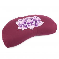 Meditation cushion YOGI MOND ECO | with embroidery: Lotus aubergine