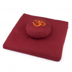 Meditation Set ECO | Zabuton ECO +  ZAFU ECO with Om, burgundy