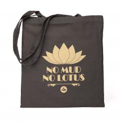 "bodhi sac en coton avec design anthracite, ""No Mud. No Lotus."""