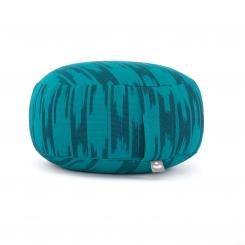 Meditation cushion RONDO | ETHNO Collection | patterned ikat weave blue & green
