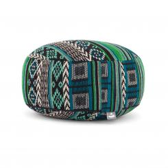 Meditation cushion RONDO | ETHNO Collection | patterned jacquard weave black-white-green
