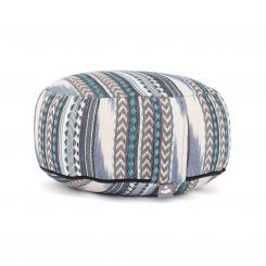 Meditation cushion RONDO | ETHNO Collection | patterned ikat weave black-white-blue