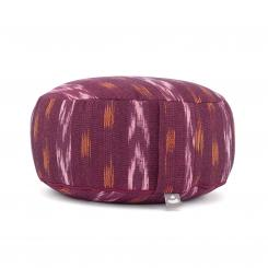 Meditation cushion RONDO | ETHNO Collection | patterned ikat weave burgundy