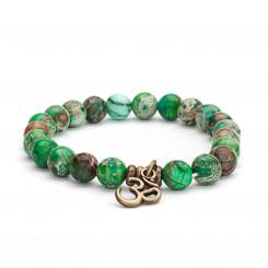 Mala bracelet, green imperial turquoise (fashion jewelry)