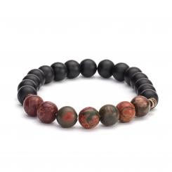 Mala bracelet, picasso jaspis with black agate (fashion jewelry)