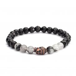 Mala bracelet, black rutilated quarz & black agate (fashion jewelry)