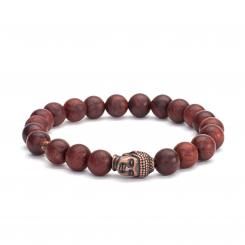 Mala bracelet, wooden beads, brown