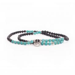 Mala long bracelet, turquoise and black agate (fashion jewelry)