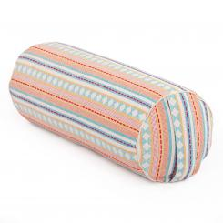 Bolster de yoga | ETHNO Collection | tissage Jacquard, motifs abricot-bleu clair