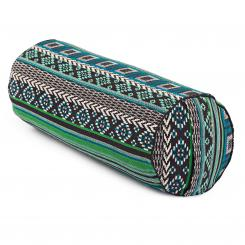 Yoga BOLSTER | ETHNO Collection | patterned jacquard weave black-white-green