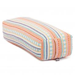 Bolster de yoga Salamba | ETHNO Collection | tissage Jacquard, motifs abricot-bleu clair