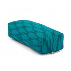 Bolster de yoga Salamba | ETHNO Collection | tissage Ikat, motifs bleu-vert