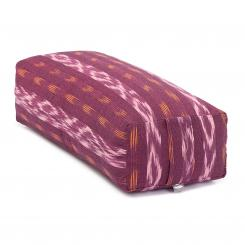 Yoga BOLSTER Salamba | ETHNO Collection | Ikat-Webstoff, weinrot gemustert
