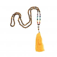 Mala 7 chakras tiger eye, 108 beads