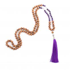Mala, amethyst, rock crystal and beads with sandal wood scent, 108 beads
