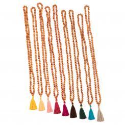 Mala Yoga Kette mit Sandelholz-Duft, farbige Quaste, 108 Perlen
