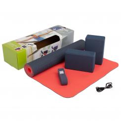 Yoga Set FLOW Yogamatte mit Block & Gurt blau