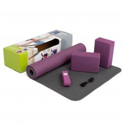 Yoga Set FLOW yoga mat with brick and strap