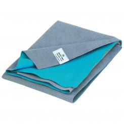 Yoga towel mat YATRA, microfiber with TPE coating grey/turquoise