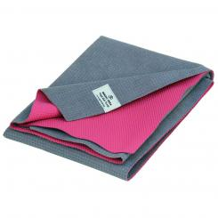 Yoga towel mat YATRA, microfiber with TPE coating grey/pink