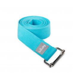 Yoga strap ASANA BELT with metal sliding buckle aqua