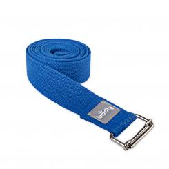 Yoga strap ASANA BELT with metal sliding buckle blue