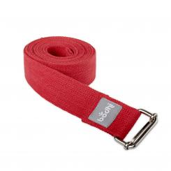 Yoga strap ASANA BELT with metal sliding buckle burgundy