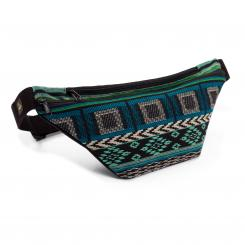 Waist Bag | ETHNO Collection | Jacquard woven fabric, black-white-green pattern
