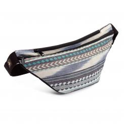 ETHNO Collection: Hip Bag Ikat-Webstoff, schwarz-weiß-blau gemustert