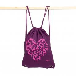 Drawstring bag, cotton with print YOGA HEART, purple