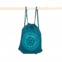 Drawstring bag, cotton with print ETHNO MANDALA, petrol