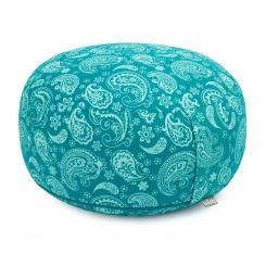 Maharaja Collection: RONDO meditation cushion | 32 x 20 cm Paisley, petrol | spelt hull