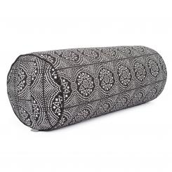 Maharaja Collection: Yoga Bolster, 65 x Ø 23 cm Bandhani, black/white | spelt hulls
