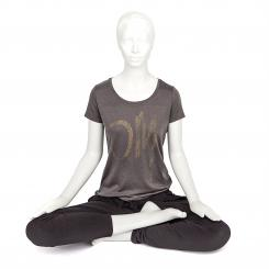 Bodhi Womens T-Shirt, OM print gold, anthracite M