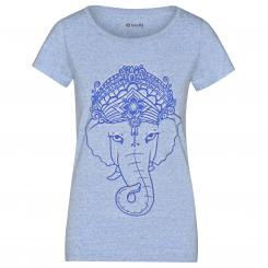 Bodhi Yoga Womens Shirt - Ganesha, cream heather blue,