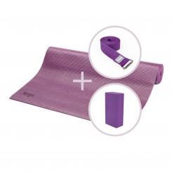 Kit de yoga ASANA avec tapis de yoga, brique et sangle violet
