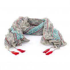 Printed cotton shawl, grey/petrol