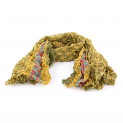 Leichter Baumwollschal mit verspieltem Muster, olive/senf/petrol
