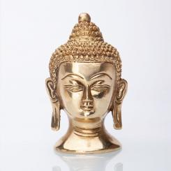 Statuette de tête de Bouddha, laiton, 11 cm