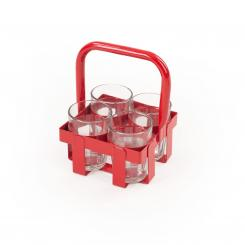 Chai Tray with 4 chai glasses red
