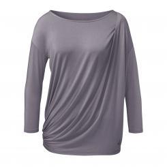 Curare Yoga Shirt, Togafalte, ¾ Ärmel, pearl-grey