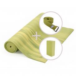 Yoga Set GANGES Yogamatte mit Block & Gurt grün/gelb