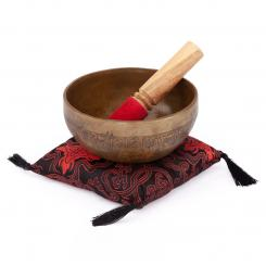 Tibetan Singing Bowl with LETTERS inlay by bodhi, approx. 520 g, Ø 14 cm