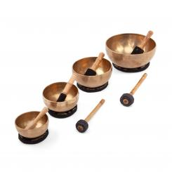 Singing Bowl Set with 4 singing bowls , incl. cushions & strikers
