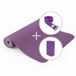 Yoga Set LOTUS PRO yoga mat with brick and strap aubergine