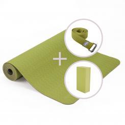 Yoga Set LOTUS PRO Yogamatte mit Block & Gurt grün