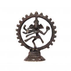 Statuette de Nataraj, laiton noir, 13 cm