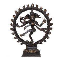 Statuette de Nataraj, laiton noir, 23 cm