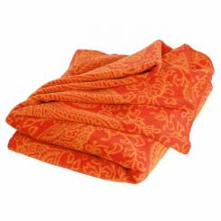 Couverture douce au motif paisley orange
